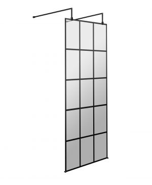 Black Framed Wetroom Panel With 2 Arms & Feet - 700mm