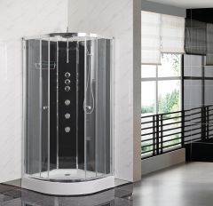 Opus Black Offset Quadrant Shower Cabin Left Handed - 1200 x 800mm